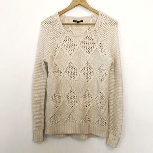 American Eagle Cream Knit Long Sleeve Sweater
